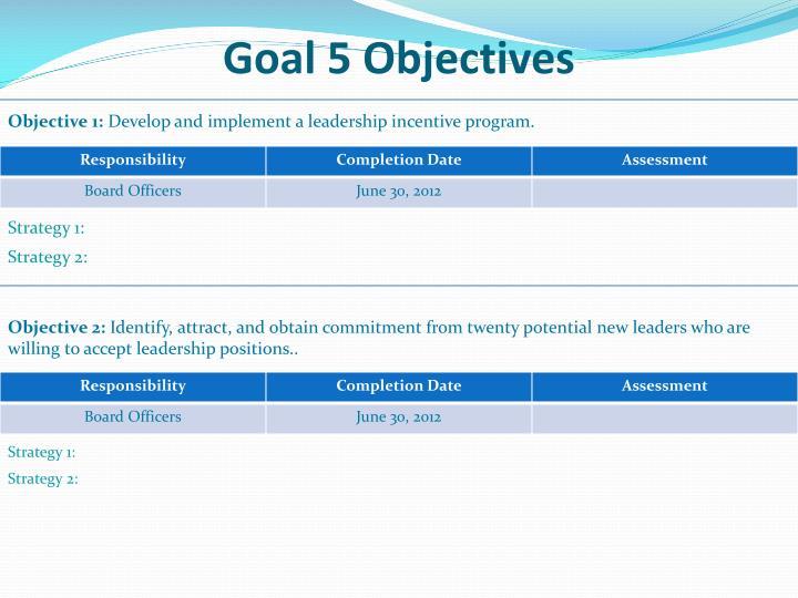 Goal 5 Objectives