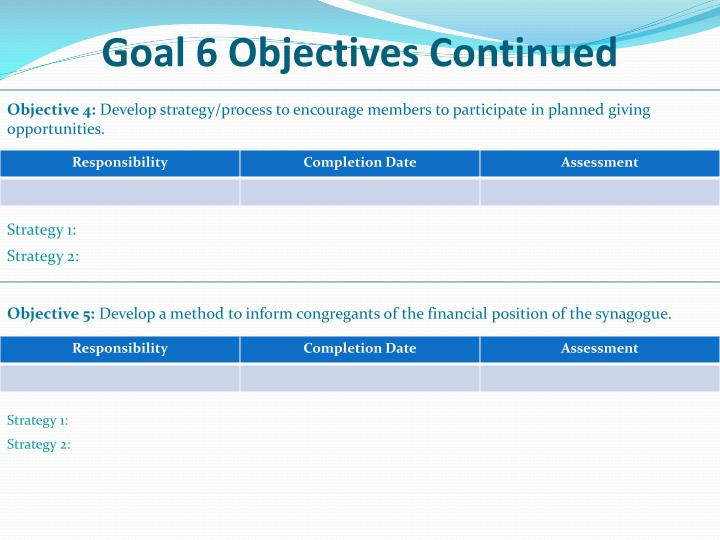 Goal 6 Objectives Continued