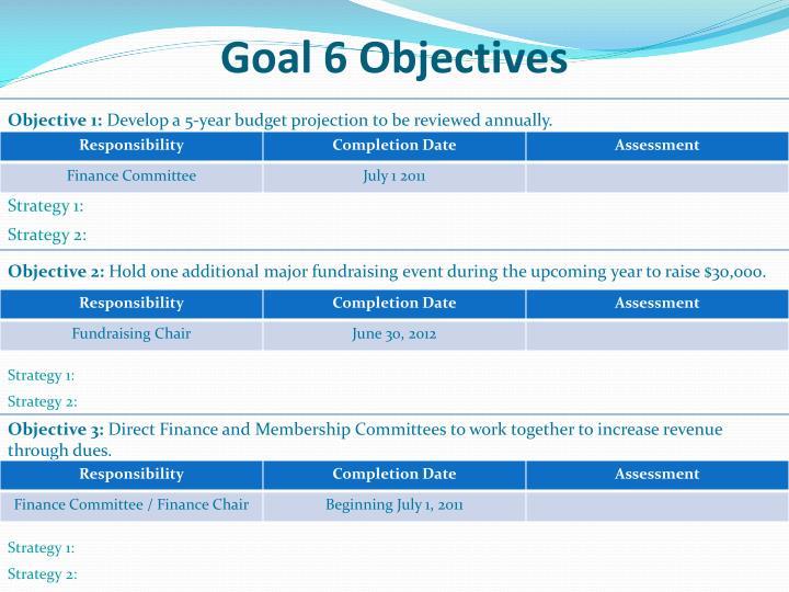 Goal 6 Objectives