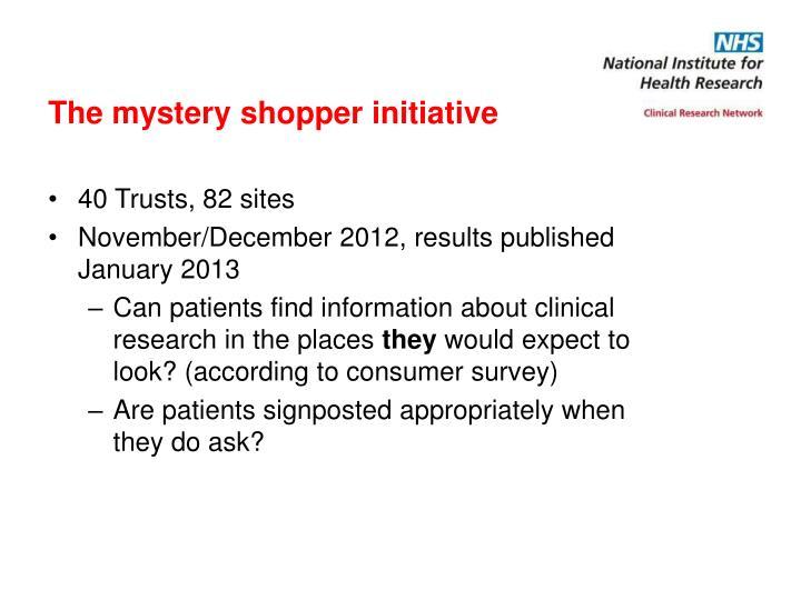 The mystery shopper initiative