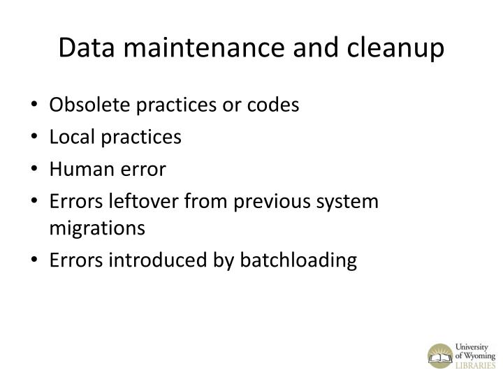 Data maintenance and cleanup