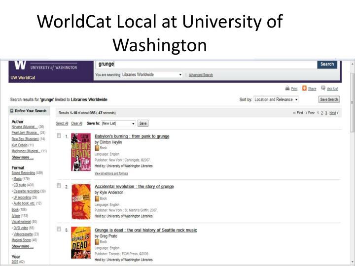 WorldCat Local at University of Washington