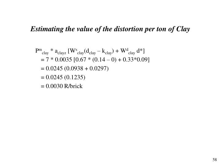 Estimating the value of the distortion per ton of Clay