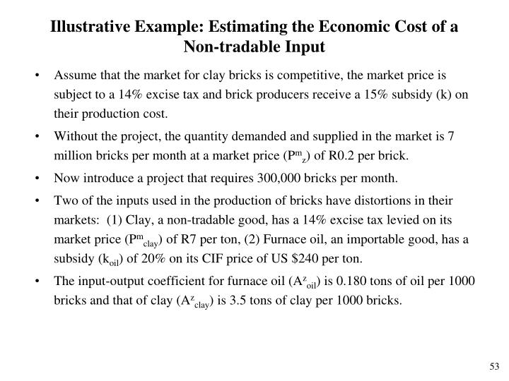 Illustrative Example: Estimating the Economic Cost of a Non-tradable Input