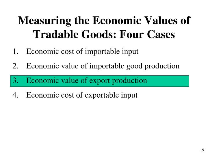 Measuring the Economic Values of Tradable Goods: Four Cases