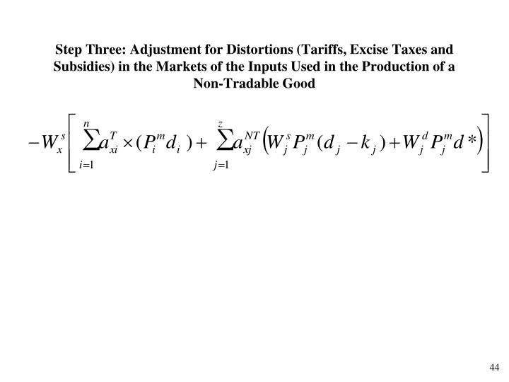 Step Three: Adjustment for Distortions (Tariffs, Excise Taxes and Subsidies) in the Markets of the Inputs Used in the Production of a Non-Tradable Good