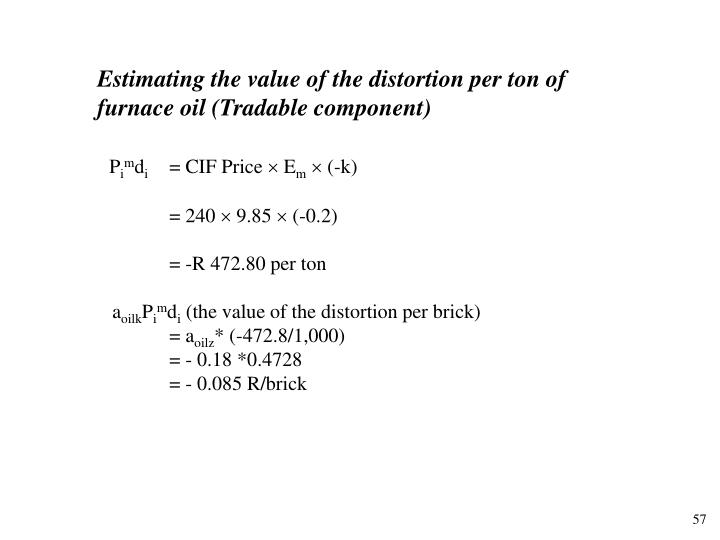 Estimating the value of the distortion per ton of