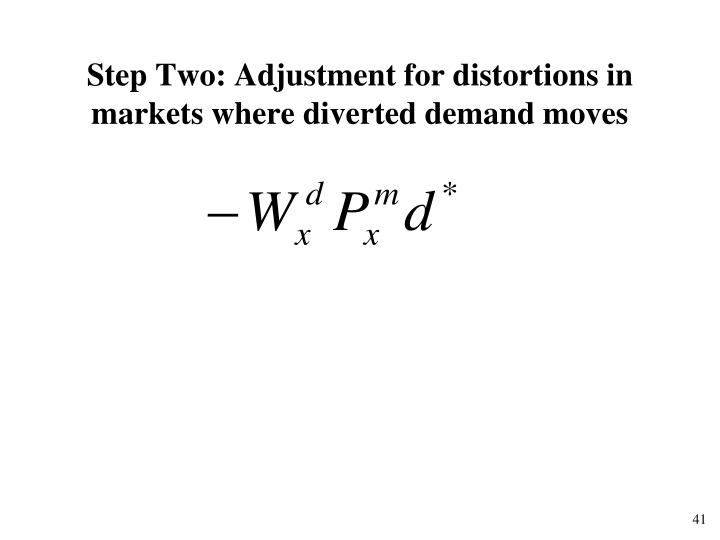 Step Two: Adjustment for distortions in markets where diverted demand moves