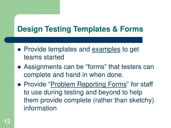 Design Testing Templates & Forms