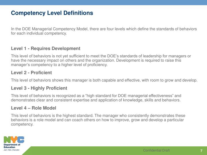 Competency Level Definitions