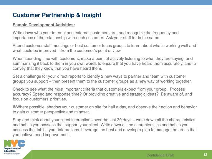 Customer Partnership & Insight