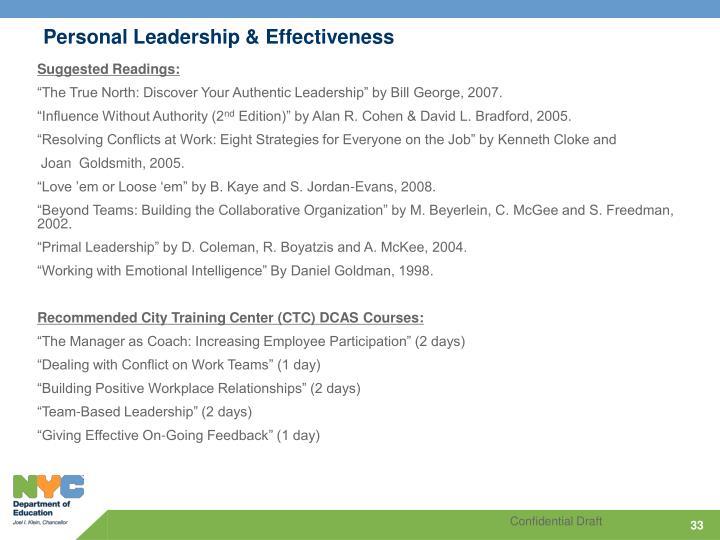 Personal Leadership & Effectiveness