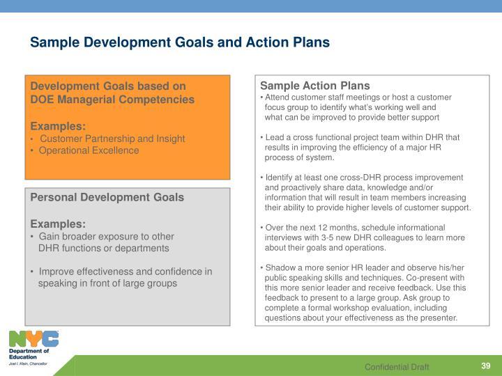 Sample Development Goals and Action Plans