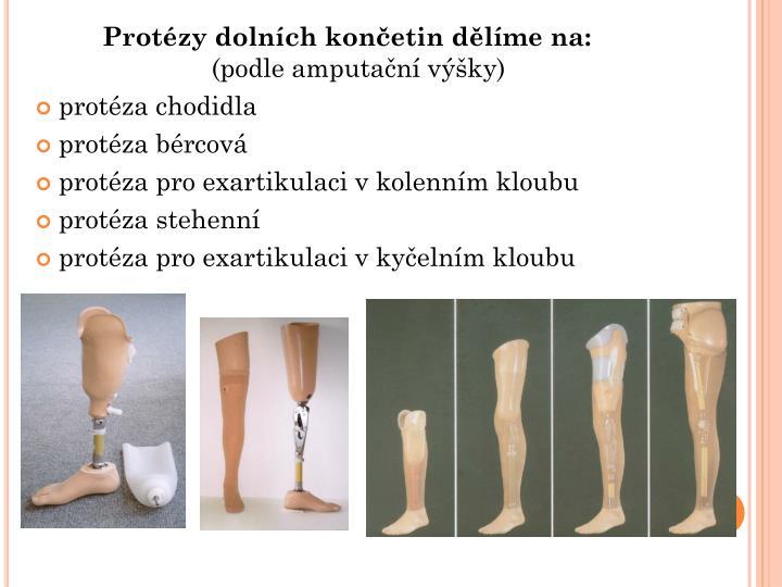 Protézy dolních končetin dělíme na: