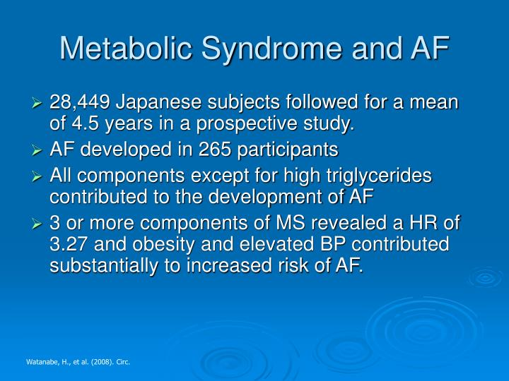 Metabolic Syndrome and AF
