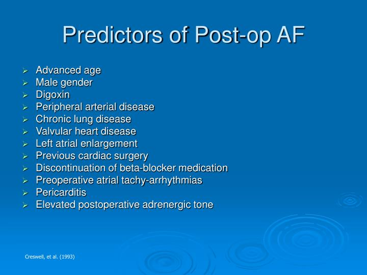 Predictors of Post-op AF