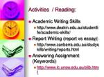activities reading