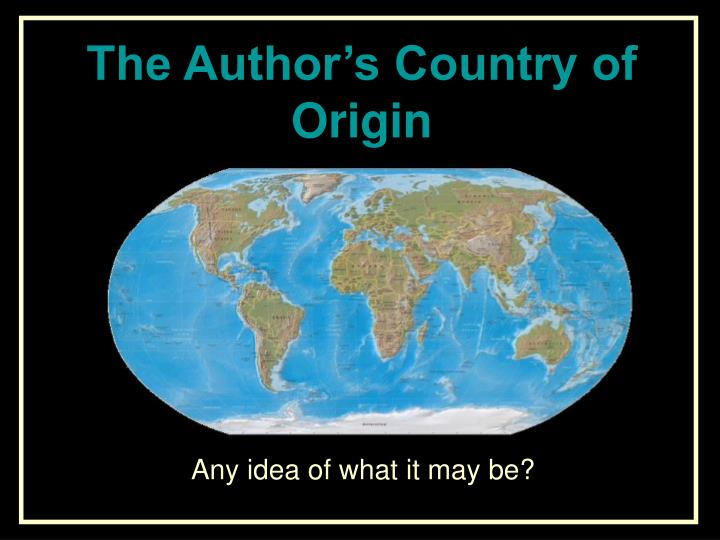 The Author's Country of Origin