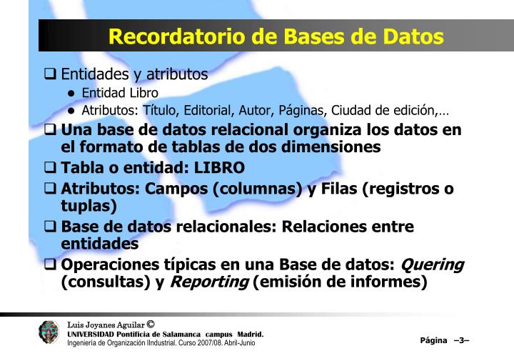 Recordatorio de bases de datos