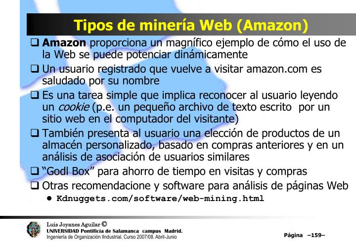Tipos de minería Web (Amazon)