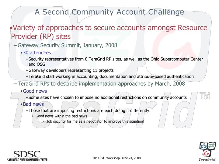 A Second Community Account Challenge