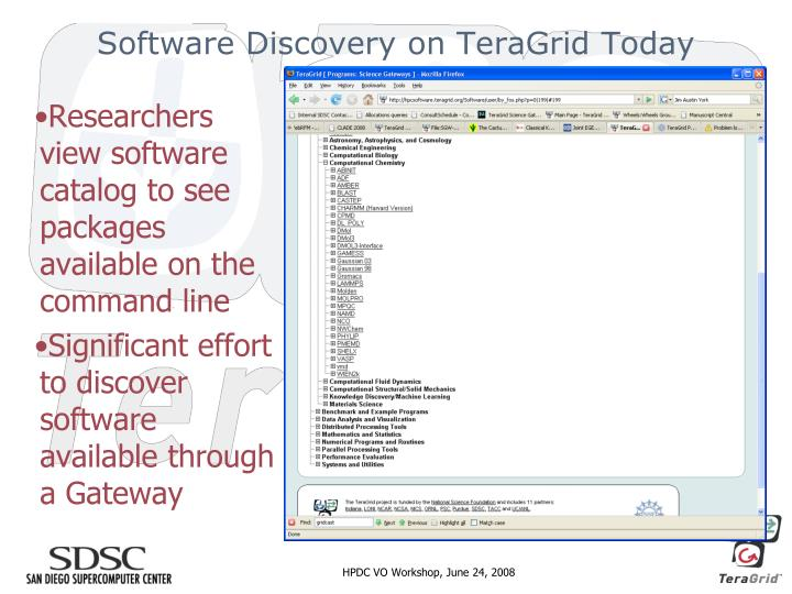 Software Discovery on TeraGrid Today
