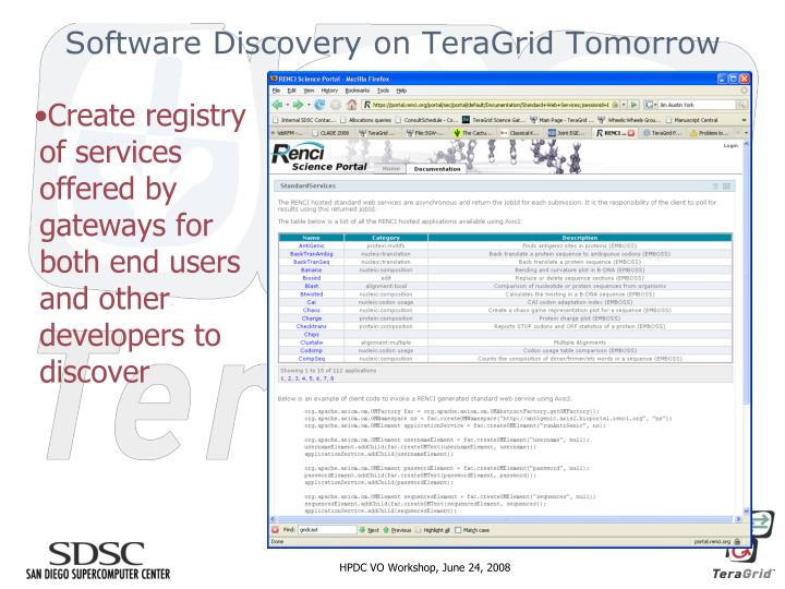 Software Discovery on TeraGrid Tomorrow