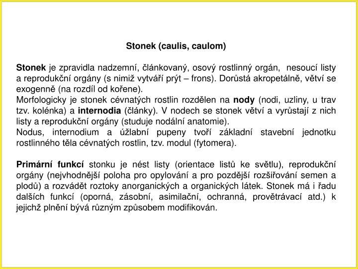 Stonek (caulis, caulom)