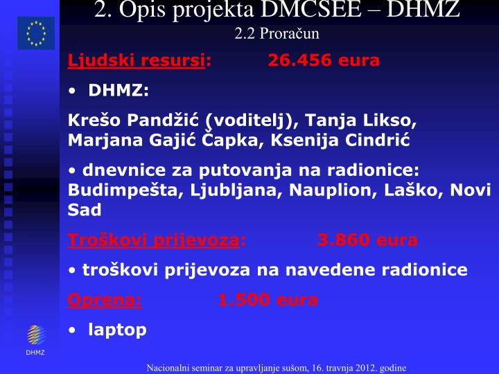 2. Opis projekta DMCSEE – DHMZ