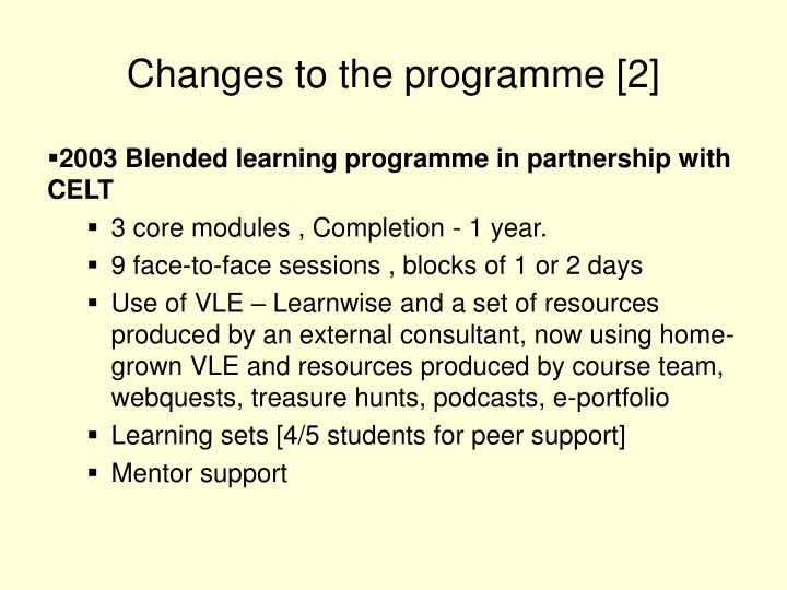 Changes to the programme [2]