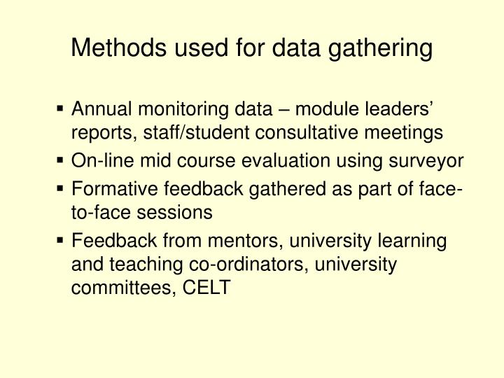 Methods used for data gathering
