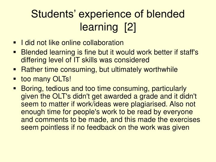 Students' experience of blended learning  [2]