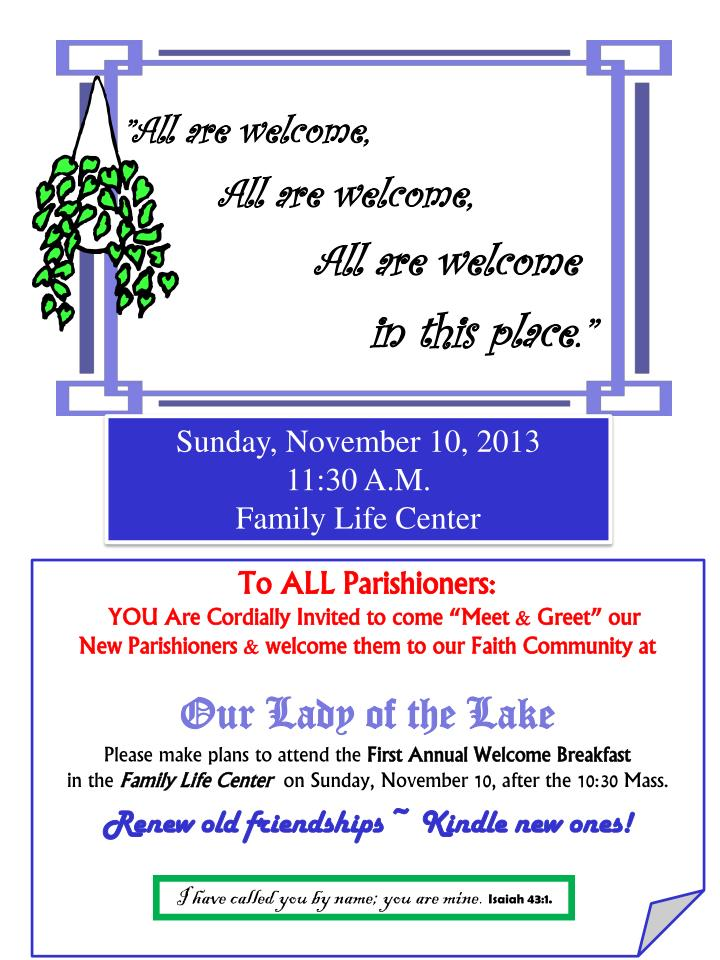 """""""All are welcome,"""
