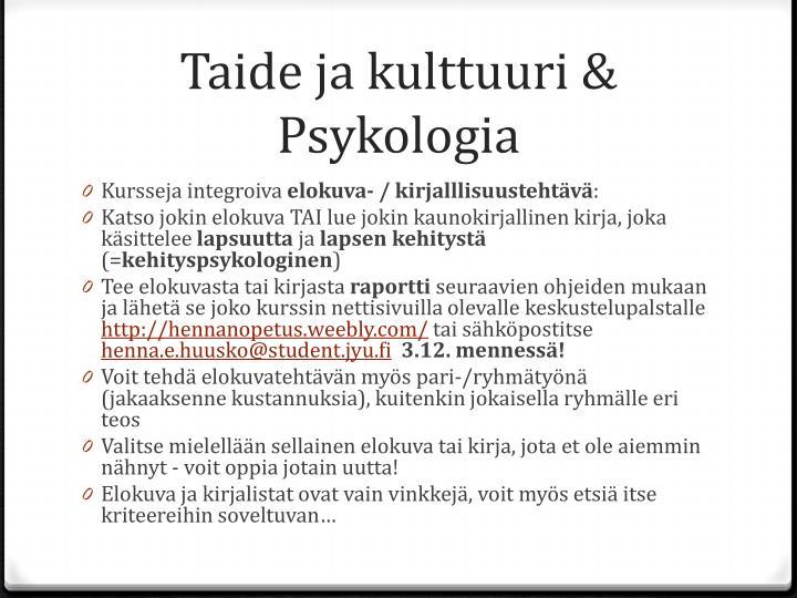 Taide ja kulttuuri & Psykologia