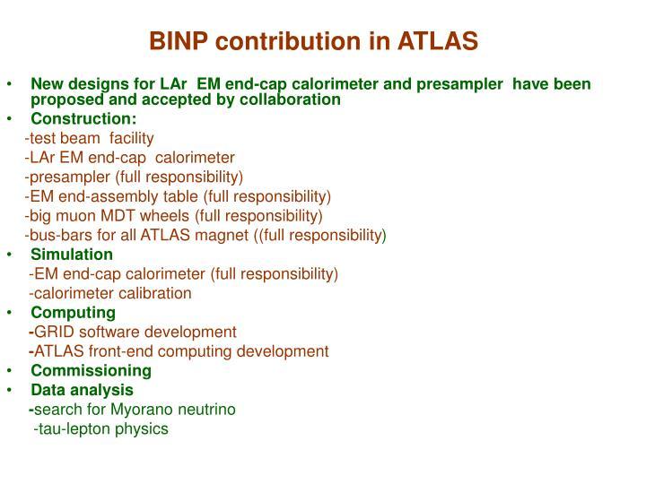 BINP contribution in ATLAS