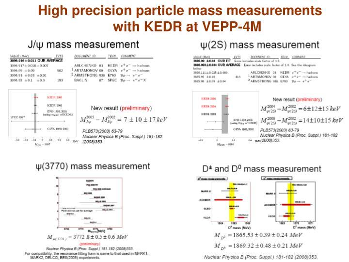 High precision particle mass measurements