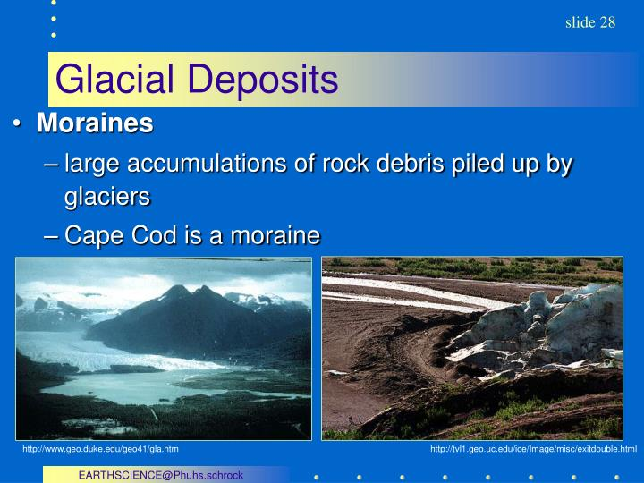 glacial deposits essay Scientists believe that earth was completely covered in ice due to the fact that large glacial deposits have been found essay on extinction event and period.