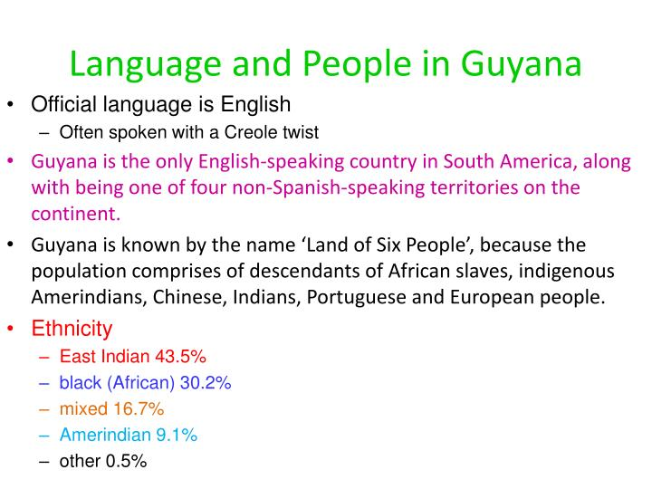 Language and people in guyana