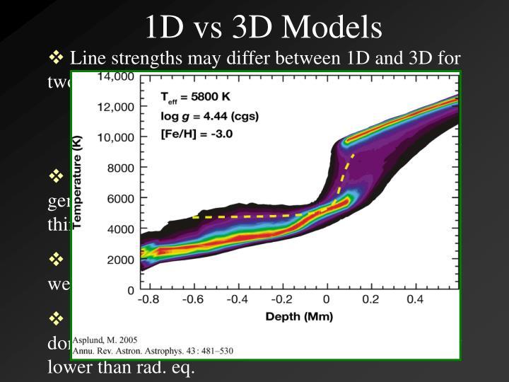 1D vs 3D Models
