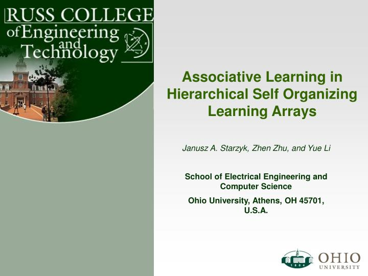 associative learning in hierarchical self organizing learning arrays n.