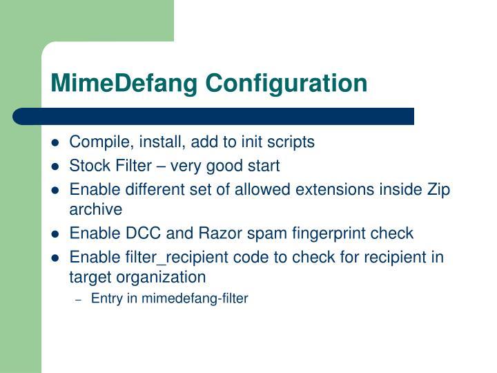 MimeDefang Configuration