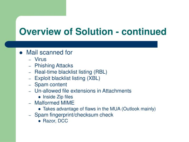 Overview of Solution - continued