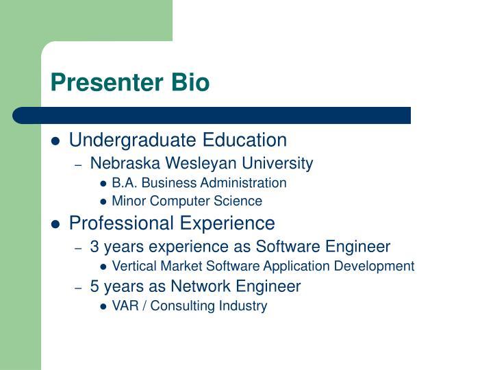 Presenter bio