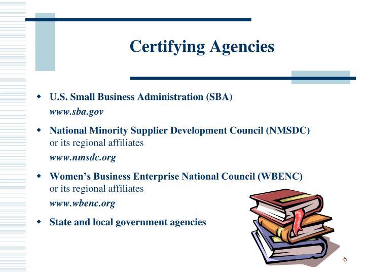 Certifying Agencies