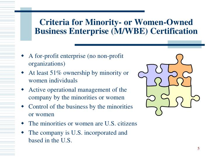 Criteria for Minority- or Women-Owned Business Enterprise (M/WBE) Certification