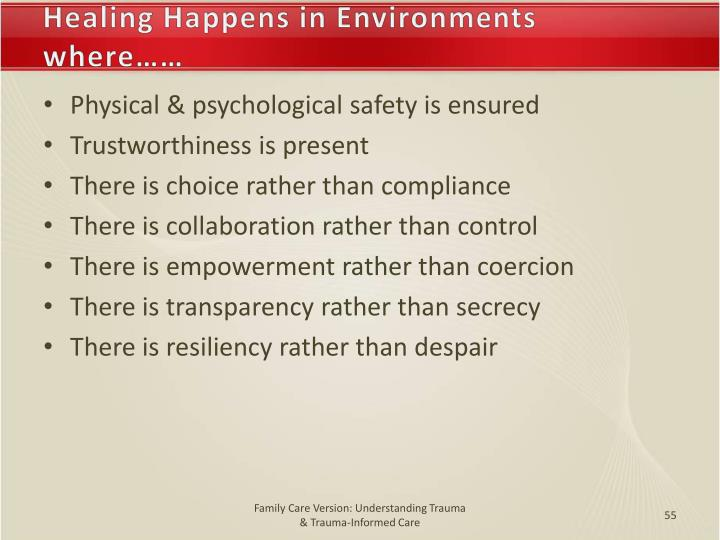 Healing Happens in Environments where……