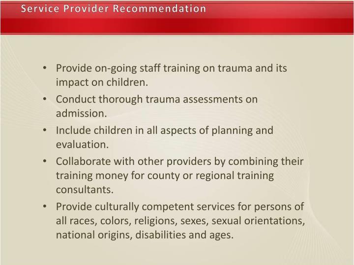 Service Provider Recommendation
