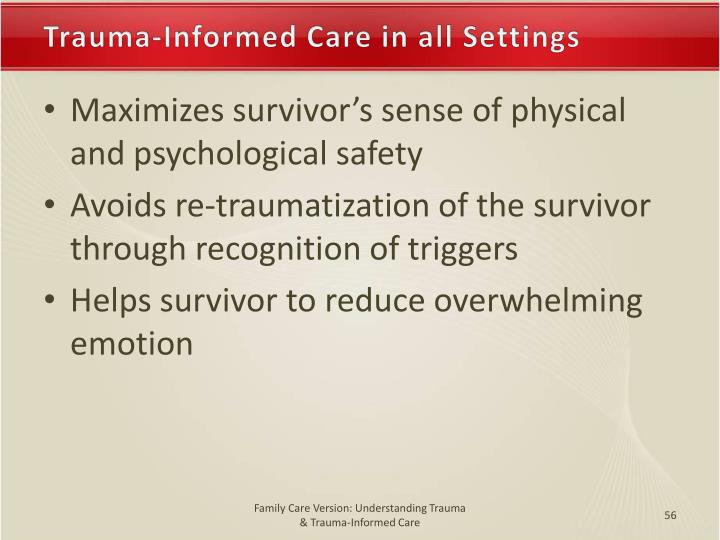 Trauma-Informed Care in all Settings