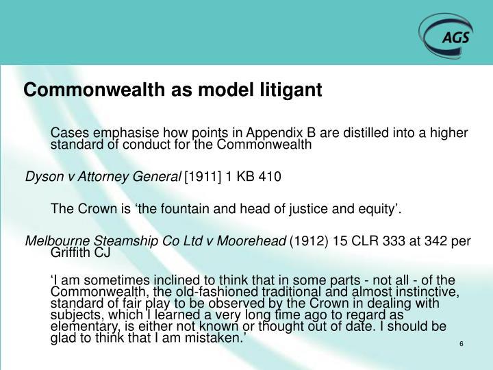 Commonwealth as model litigant