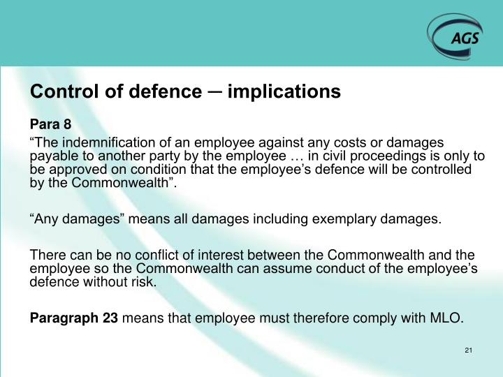 Control of defence ─ implications